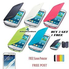 SAMSUNG GALAXY S3 I9300 & S3 MINI I8190 FLIP CASE COVER + FREE SCREENPROTECTOR""