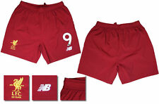 17 / 18 - NEW BALANCE ; LIVERPOOL HOME SHORTS / NUMBERED 9 = ADULTS SIZE*