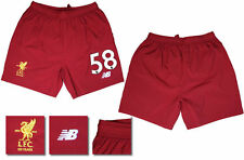 17 / 18 - NEW BALANCE ; LIVERPOOL HOME SHORTS / NUMBERED 58 = ADULTS SIZE*