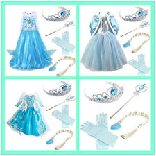 Hot Les filles Robes Elsa Frozen Robe costume Princesse Anna Partie Robes 2-9