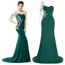 One Shoulder Pageant Engagement Formal Evening Gowns Prom Ball Party Maxi Dress