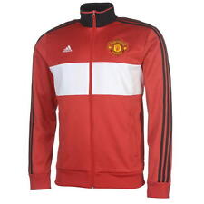 17 / 18 - ADIDAS MANCHESTER UNITED RED THREE STRIPES TRACK TOP = ADULTS SIZE*
