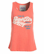New Womens Superdry Factory Second Triple Swoosh Vest Top Hyper Coral Marl