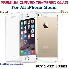 Premium Tempered Glass Screen Guard Protector For iPhone Front+ Back.