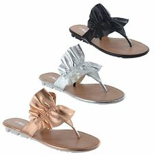 LADIES WOMENS NEW SLIP ON SUMMER FLAT FLIP FLOP FRILL THONG SANDALS SHOES SIZE