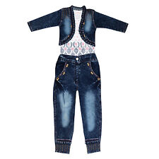 Arshia Fashions Girls Dress Top and Jeans with Denim Jacket - Party wear
