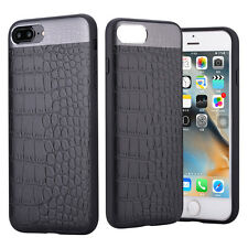 COMMA for iPhone 7 Plus Crocodile Texture Genuine Leather TPU Back Case