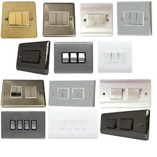 3&4 Gang Wall Light Switch Electrical Triple Quad White Chrome