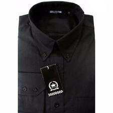 Black Oxford Men's Long Sleeve Button Down Collar Shirt Mod Design  Relco Cotton