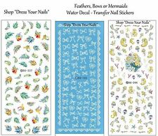 Water Decals - Nail Transfers - BOWS, FEATHERS, MERMAID - Nail Art Decoration -
