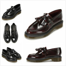 Dr Martens Tassel Loafer - Adrian Arcadia Smooth Leather Shoes Cherry Red Black
