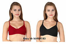 Combo Plain Cotton Bra Set Black & Red Color Plain Bra Set k