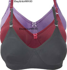 Combo Plain Cotton Bra Set Black, Maroon, Purple Plain Bra Set k