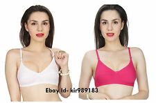 Combo Plain Cotton BraSet White & Pink Color Plain Bra Set k