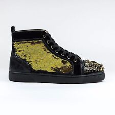 100% Authentic NEW Christian Louboutin Mad Sneak Patent Galucalf Black/Gold