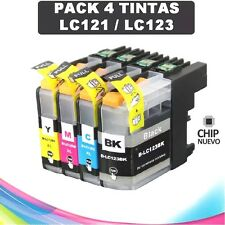PACK 4 TINTAS LC-121 LC-123 COMPATIBLE NONOEM BROTHER CARTUCHO LC121 LC123