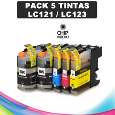 PACK 5 TINTAS LC-121 LC-123 COMPATIBLE NONOEM BROTHER CARTUCHO LC121 LC123
