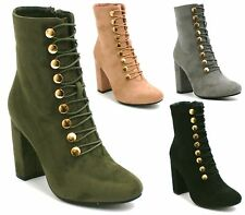 WOMENS LADIES LACE UP ROUND TOE HIGH HEEL ANKLE CALF BOOTS SHOES SIZE 3-8