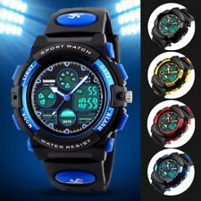 Waterproof Boy Girl Children Kid LED Analog Digital Date Alarm Sport Wrist Watch