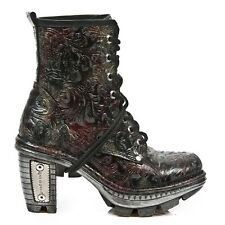 New Rock Women Leather Botas Estilo Motero Vintage Estampado Piel - M.