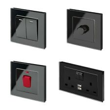 RetroTouch Black Glass PG Light Switches, Plug Sockets, Dimmers, Cooker, Fused