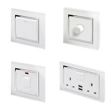 RetroTouch White Glass CT Light Switches, Plug Sockets, Dimmers, Cooker, Fused
