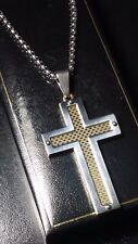 New Mens Silver Gold Filled Steel Cross Crucifix Pendant Box Chain Necklace
