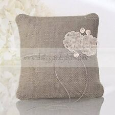 Hessian Shabby Chic Wedding Ring Cushion with two lace flowers
