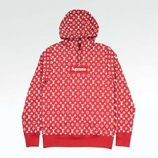 100% Authentic NEW Supreme x Louis Vuitton Monogram Box Logo Hoodie Red 1A3FBU