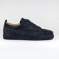 Auth BNIB Christian Louboutin Louis Junior Spikes Suede Navy Blue NUIT Sneakers