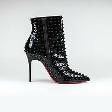 100% Auth Womens Christian Louboutin Snakilta Spiked 120mm Patent Boots Black
