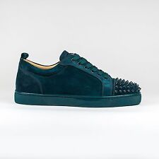 Auth BNIB Christian Louboutin Louis Junior Spikes Lagune Suede Sneakers