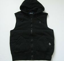 POLO RALPH LAUREN QUILTED FLEECE GILET WITH HOOD. POLO BLACK, SIZE MEDIUM, NEW