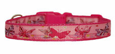 "Beautiful Cerise  pink  butterflies  medium large dog puppy collar 1"" cushioned"