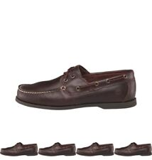 BRAND Timberland Mens Cedar Bay Classic 3 Eye Boat Shoes Dark Brown UK 7 Euro 41