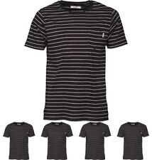 DI MODA Onfire Mens Yarn Dyed Striped T-Shirt Black/Grey Marl Small Chest 38""