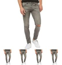 "DI MODA Ringspun Mens Apollo Super Skinny Fit Jeans With Rips Grey Waist 30"" Le"