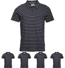 DI MODA Onfire Mens Yarn Dyed Striped Polo Navy/Ecru Small Chest 38""
