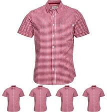 DI MODA Onfire Mens Yard Dyed Gingham Checked Short Sleeve Shirt Dark Red Small