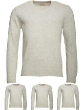 DI MODA Onfire Mens V-Neck Lambswool Mix Sweater Light Grey Marl Small Chest 38""