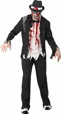 Mens  Zombie Gangster Costume Halloween Adult Horror Fancy Dress Outfit