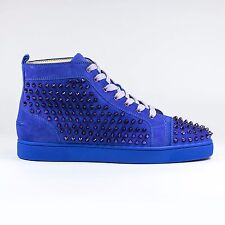 100% Auth Christian Louboutin Louis Flat Spikes Suede Pervenche Sneakers
