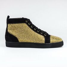 100% Authentic Christian Louboutin Louis Strass Flat Veau Velour Gold