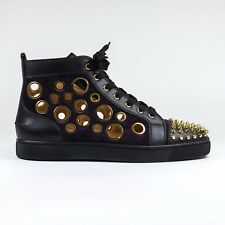 100% Authentic Christian Louboutin Lou Spikes Bubble Version Eclipse Gold