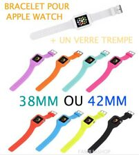 BRACELET SPORT APPLE WATCH DE REMPLACEMENT SILICONE 38MM ou 42MM + verre trempé