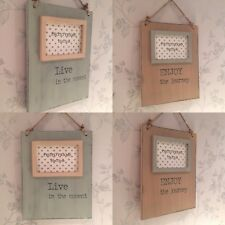 Live In The Moment / Enjoy The Journey  ~ Wood Rope Hanging Photo Frame 8RW101