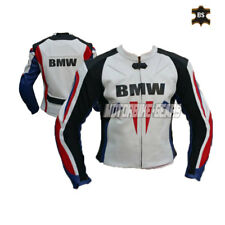 White racing leather jacket motorbike jacket all size bike apparel ce armours