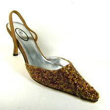 Ladies Brown/multi Beaded Satin Stiletto Heels Shoes Size 3 4 5