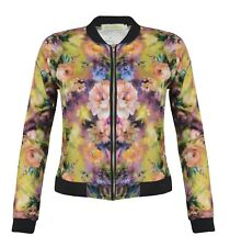Womens Floral Bomber Jacket Black Biker Print Jackets Coat
