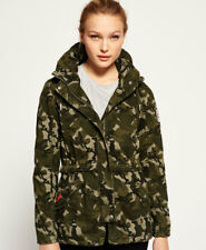 New Womens Superdry Rookie Tall Collar Parka Jacket Army Camo